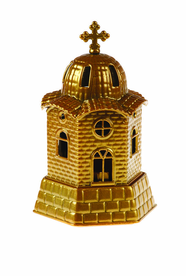 Small church vigil oil lamp gold