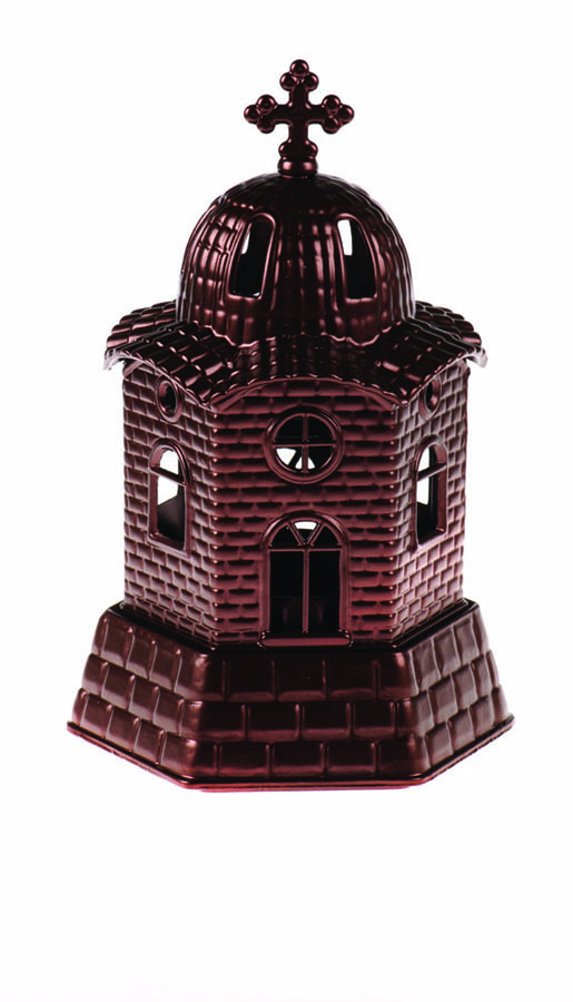 Small church vigil oil lamp brown