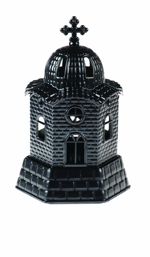 Small church vigil oil lamp black