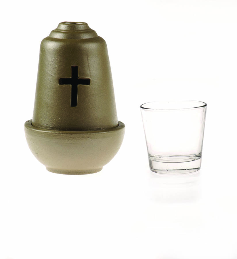 Ceramic Vigil oil lamp olive green