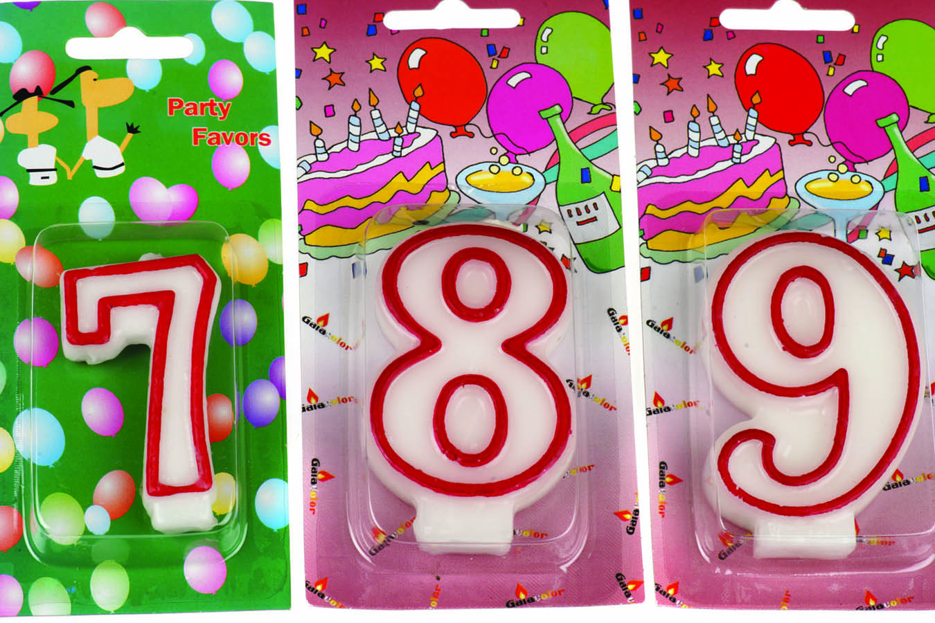 Birthday Candles Νο 7,8,9